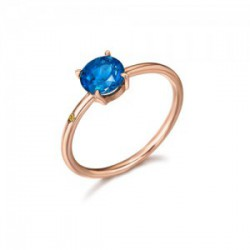 ANILLO CON TOPACIO LONDON BLUE Y DIAMANTE LATERAL