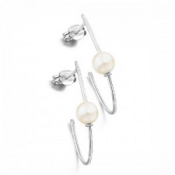 PENDIENTES ORO BLANCO Y PERLA NATURAL GB099OB.00